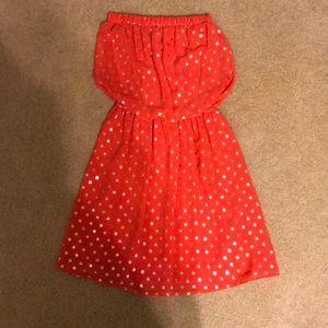 strapless polka dot mini dress 🔴